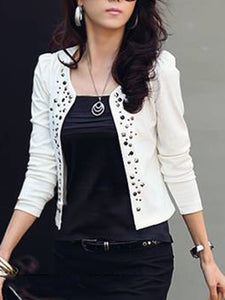 Collarless  Rivet  Plain Blazer