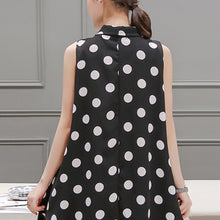 Tie Collar Polka Dots Chiffon Shift Dress