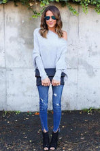 Open Shoulder Plain Batwing Sleeve Sweaters