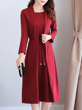 Solid Bowknot Fake Two-Piece Maxi Dress