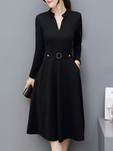 Women Split Neck Solid Midi Skater Dress