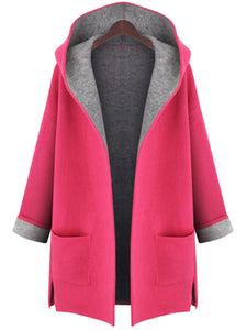 Hooded Patch Pocket Woolen Color Block Coat