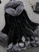 Luxurious Hooded  Faux Fur Color Block Coats