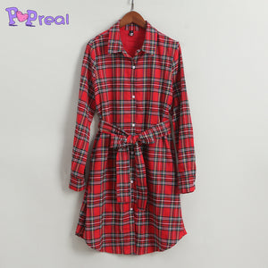 Mom Girl Plaid Self Tie Shirt Dress