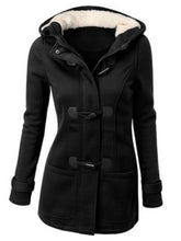 Hooded  Patch Pocket  Plain Woolen Coat