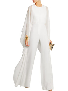 Solid Cape Sleeve Hollow Out Chiffon Wide-Leg Jumpsuit