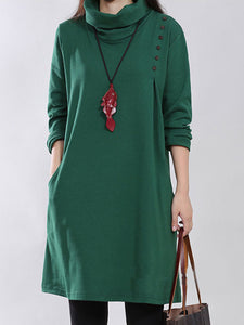 Turtleneck Pocket Solid Shift Dress