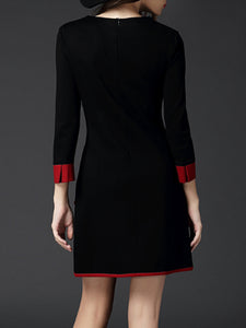 Round Neck  Contrast Trim  Color Block  Blend Dresses