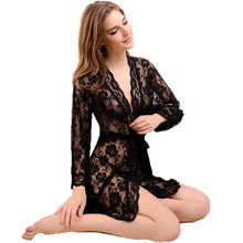 Women's Lace Sexy Sleepwear Transparent Intimates Female Robes