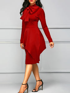High Neck Bowknot Plain Bodycon Dress