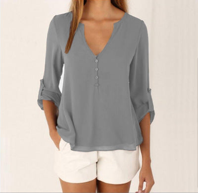 Blouse Shirt V Neck Plus Size