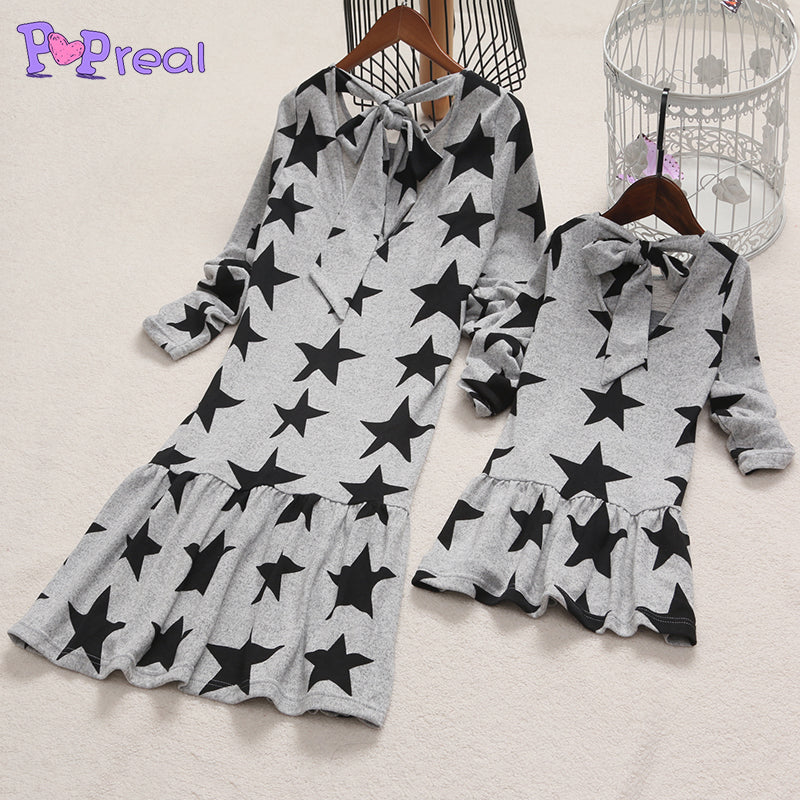 Mom Girl Star Prints Self Tie Frill Hem Dress
