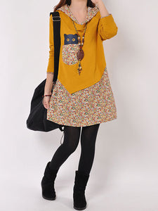 Cute Printed Hooded Mini Shift Dress