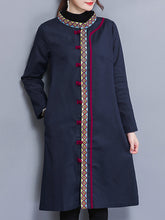 Band Collar Single Breasted Embroidery Trench Coat
