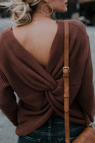 V Neck  Backless Loose Fitting  Plain Sweaters