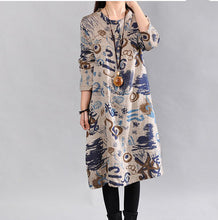 Gray Long Sleeve A-Line Stand Collar Casual Abstract Dress