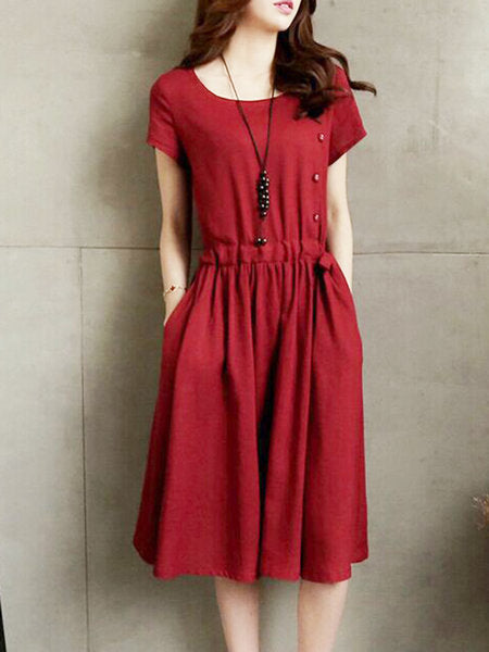 Burgundy Short Sleeve Solid A-Line Casual Dress