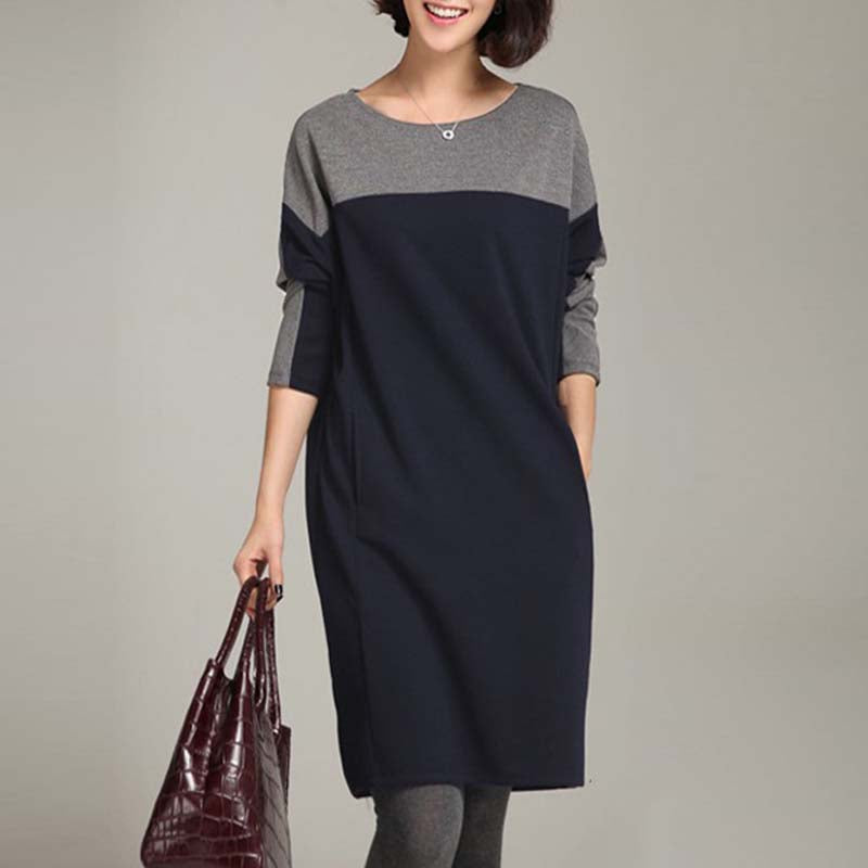 Simple Style Long-Sleeved Shift Dress