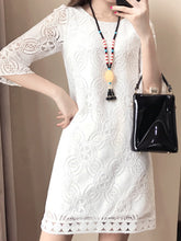 Round Neck  Lace  Lace Shift Dress