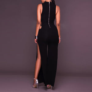 Sexy V Collar Split Package Hip Jumpsuit