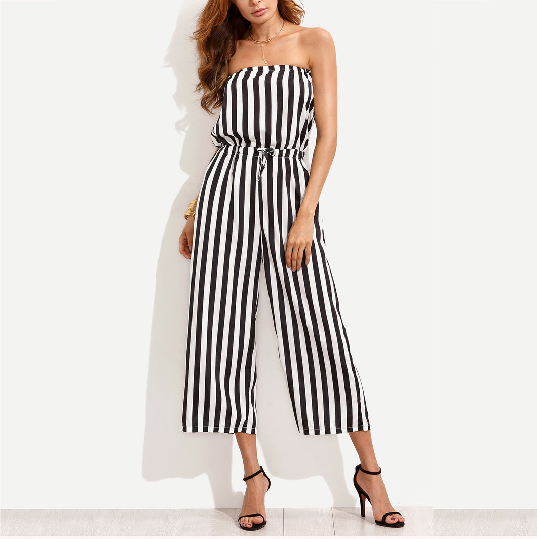 Sexy Casual Off-Shoulder Strip Jumpsuit