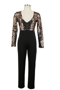 Sexy Deep V Collar Sequin Splicing Jumpsuit