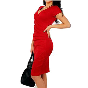 Sexy V-Neck Cross Split Bodycon Dress