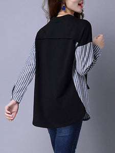 Patchwork  Striped Short Sleeve T-Shirts