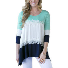 Three-Color Stitching Lace T-Shirt