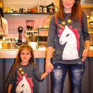 Mom Girl Cartoon Animals Pattern Matching T-Shirt