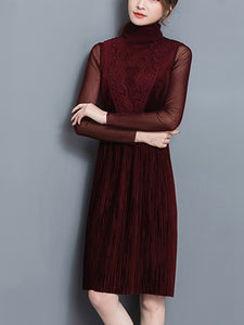 Band Collar  Decorative Lace See-Through  Plain  Polyester Shift Dress