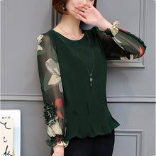 Plus Size Net Yarn Long-Sleeved Chiffon T-Shirt