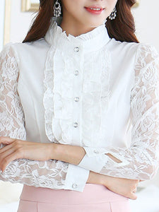 Band Collar  Decorative Lace Patchwork Single Breasted  Floral Blouses