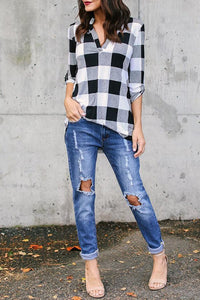 Band Collar  Asymmetric Hem  Checkered Blouses