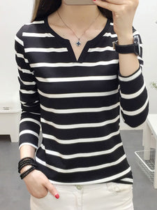 V-Neck  Striped  Long Sleeve Long Sleeve T-Shirts