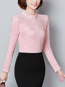 Band Collar  Decorative Lace  Lace  Long Sleeve Blouses