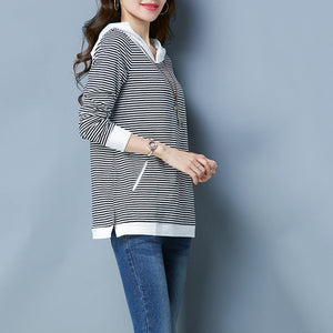 Large Size Stripes Loose T-Shirt