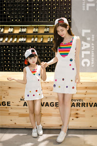 Mother And Daughter Skirt Two Sets Of Rainbow Striped Cotton Suit Dress