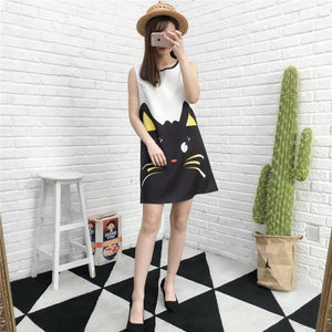 Mother And Daughter Sleeveless Cartoon Cat Dress