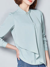 Band Collar  Asymmetric Hem Patchwork  Plain  Long Sleeve Blouses