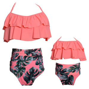 High Waist Pink Bikini Split Parent-Child Swimsuit