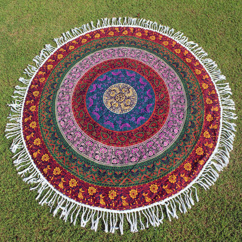 Round Holiday Shawl Printed Beach Towel