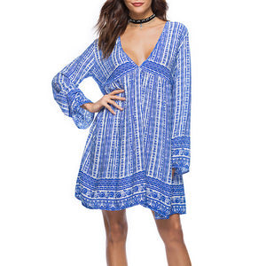Bohemian Printed Long-Sleeved Vacation Dress