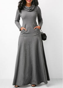 Long Sleeve Cowl Neck Grey Maxi Bodycon Dress