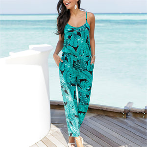Beach Casual Strap V-Neck Printed Jumpsuit
