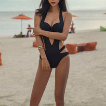 Black Sexy Charming Straps One-Piece Swimwear