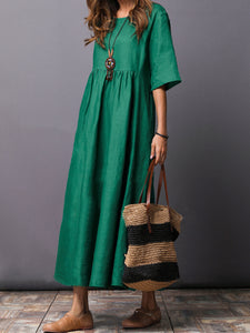Round Neck  Plain  Cotton/Linen Maxi Dress