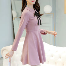 Bow Knot POLO Collar Solid Color Expansion Skater Dress