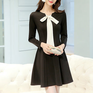 Bow Knot Solid Color Expansion Skater Dress
