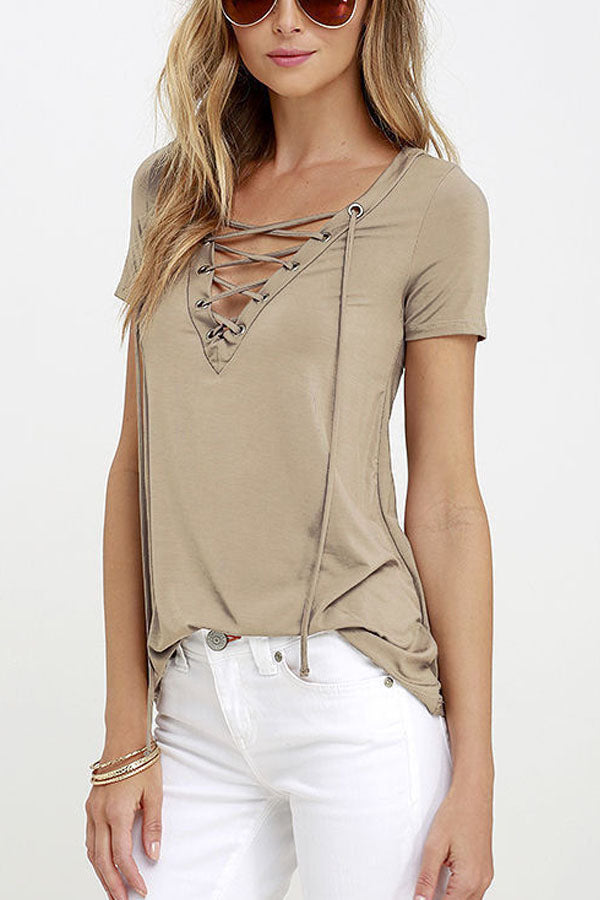 Deep V Neck Lace Up Patchwork Sweatshirts iconic los angeles sporty
